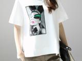 韩版T恤衫女夏季纯棉短袖 圆领广州女装厂家批发一件代发代理加盟
