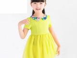 2014夏季童装爆款  韩版中大女童雪纺短袖儿童公主裙 女童连衣
