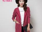 韩版毛衣女 秋季新品女式针织衫 条纹长袖羊毛衫开衫外套厂家批发