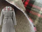 优质短顺双面羊绒格子面料 双层羊绒高档冬季服装布料 红白格子布
