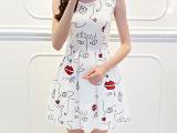 2015夏季新款韩版女装时尚背心红唇印花圆领无袖印花雪纺连衣裙