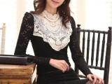 韩版大码女装 蕾丝修身显瘦长袖T恤打底衫内搭衣上衣秋款