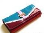 2013秋冬新款漆皮心形镶钻蕾丝标带西装女包撞色韩国热销女钱包