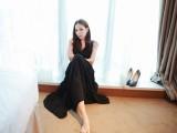 2014韩国明星款无袖V领气质性感纯色绑带高腰大摆连衣裙长裙