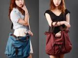 帆布包手提潮流女包2014新款女式包韩版单肩包撞色斜挎包大包