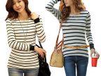 韩版打底衫爆版女装条纹长袖T恤女 网店免费代理加盟女装一件代发