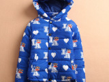 2014冬新款 儿童连帽满印可爱LA猴子保暖棉衣棉服