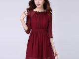 2014秋款新品女装韩版品牌修身新款雪纺长袖正品大码显瘦女连衣裙