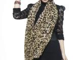 韩国秋冬围巾新款女士绒雪纺围巾丝巾U型豹纹小号外贸围巾批发