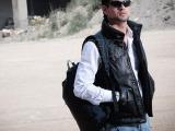 新款黑色中长款男式皮衣羽绒服高领连帽真皮