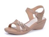 2014夏季红蜻蜓女凉鞋真皮中老年坡跟软底妈妈鞋女士皮鞋厂家直销