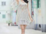 厂家直销夏装新款森女系蕾丝雪纺背心裙打底裙大码连衣裙