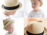 H+外贸儿童草帽专柜同款宝宝女立体耳朵防晒帽渔夫帽儿童遮阳帽
