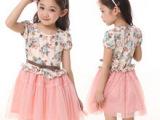 外贸童装2014韩版女童装短袖连衣裙夏装儿童碎花公主蓬蓬纱裙子