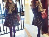 2014春季最新款呛口小辣椒同款经典格纹羊毛呢英伦大衣外套女装