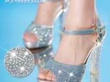 2015夏季新款女式凉鞋水晶粗跟超高跟水钻鱼嘴防水台时尚女鞋潮