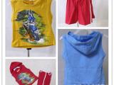 外贸库存童装 男女童套装 纯棉卡通 两件套 短袖衫+短裤 无袖T