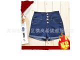 【优质低价】女装新款韩版显瘦卷边高腰浅色牛仔靴裤排扣热裤512