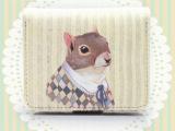 ISOS原创零钱包松鼠可爱卡通印花卡包森系小清新短款钱包女包邮