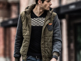 OLRIK秋冬男装外套 品牌连帽加厚男式棉衣拼接时尚男士上衣潮