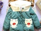 冬款宝宝棉衣连帽外出服女童圆点夹克棉袄外