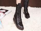 爆款2014秋冬新款女靴子欧美潮流马丁靴低跟拉链单靴黑色短筒靴
