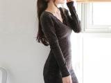 韩版毛衣女秋冬v领毛衣套头女长款毛衣裙包臀针织毛衣女批发特价