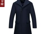 2015秋冬新款男士毛呢大衣 中长款韩版修身夹棉加厚毛呢外套批发