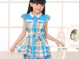 优质童装 最爱格子青春女童连衣裙 中大童纯棉夏季裙子 品牌质量