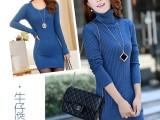 秋冬新款女装韩版修身中长款低领针织套头打底衫厚毛衣女
