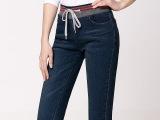 春款牛仔裤女小脚铅笔裤韩版松紧腰系带牛仔裤 女式大码牛仔长裤