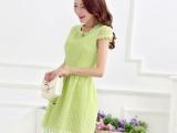 2014夏季新款女装 欧根纱格子优雅韩版修身A字裙圆领蕾丝连衣裙
