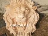 石雕晚霞红欧式狮子头雕塑户外庭院流水摆件水景