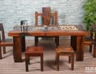 石嘴山市老船木茶桌椅子仿古茶台实木沙发茶几餐桌办公桌家具案台