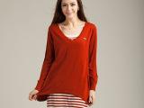 2014秋新款休闲女装 薄款两件套针织衫 条纹背心+露背宽松罩衫