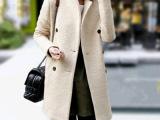 2014春装新款西装领显瘦双排扣中长款羊毛妮子外套毛呢大衣女风衣