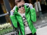 2015韩版女装羽绒服女双领手套短款时尚休闲气质外套羽绒棉衣包邮
