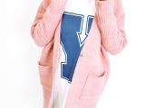 韩国东大门韩版中长款宽松加厚蝙蝠袖V领针织开衫女式大毛衣外套