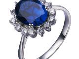 王妃戒指 王子订婚戒指 蓝宝石镶嵌锆石戒指 eBay热销戒指