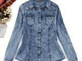 春季女装新款欧美风雪花全棉牛仔长袖衬衫 铆钉装饰可挽袖衬衣
