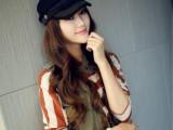 VIVI春夏季韩版鸭舌帽子呛口小辣椒时尚女士蕾丝海军帽平顶帽批发