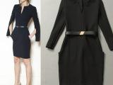 2014秋冬新款欧美外贸原单大码修身显瘦白领OL针织职业装连衣裙