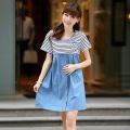 批发新款夏季孕妇裙 条纹韩版孕妇连衣裙 纯棉蓝色短袖圆领孕妇装