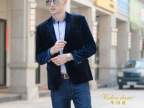 男装西服 型男修身金丝绒两粒扣暗格男式西装 休闲绅士单西