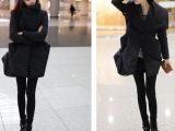 爆款韩版个性翻领收腰显瘦大口袋时尚大气不规则棉衣棉袄 女