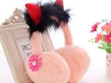韩版女款冬天牛角耳套可爱蝴蝶结耳罩仿兔毛护耳保暖耳包耳捂耳暖