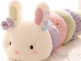 蓝白玩偶可爱趴趴兔子公仔毛绒玩具 大号长抱枕 一件代发生日礼物