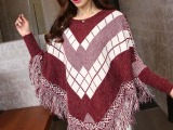 伊子2015年秋季韩版新款宽松格纹带流苏套头女式针织蝙蝠衫Z06