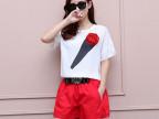 欧美街头2014夏新款休闲套装女玫瑰花朵+宽松红色短裤