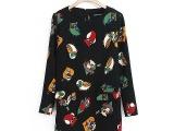 卡通 时尚小鸟动物图案 印花 长袖 连衣裙子 女装新款混批发 代